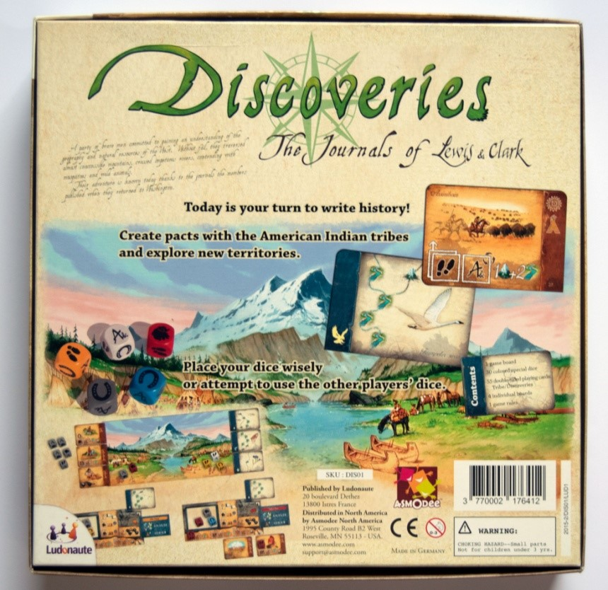 Figure 2: Back of the box (Discoveries: The Journals of Lewis & Clark)