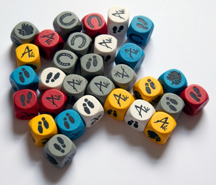 Figure 4: Player dice (Discoveries: The Journals of Lewis & Clark)