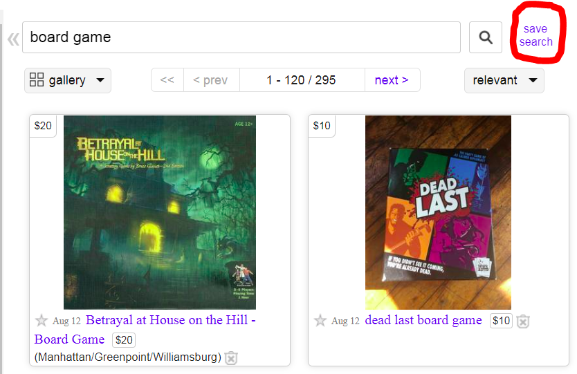 Saving a search on Craigslist to enable classified alerts for board games