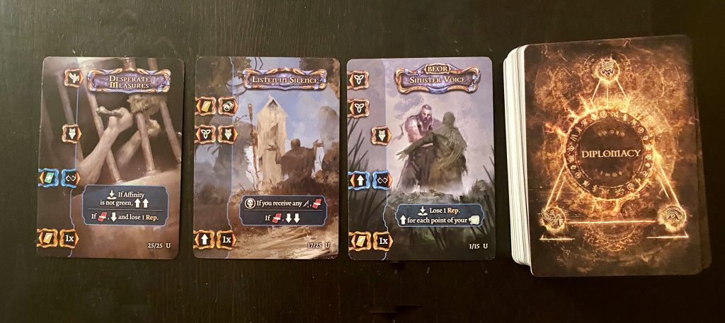 Diplomacy cards from Tainted Grail