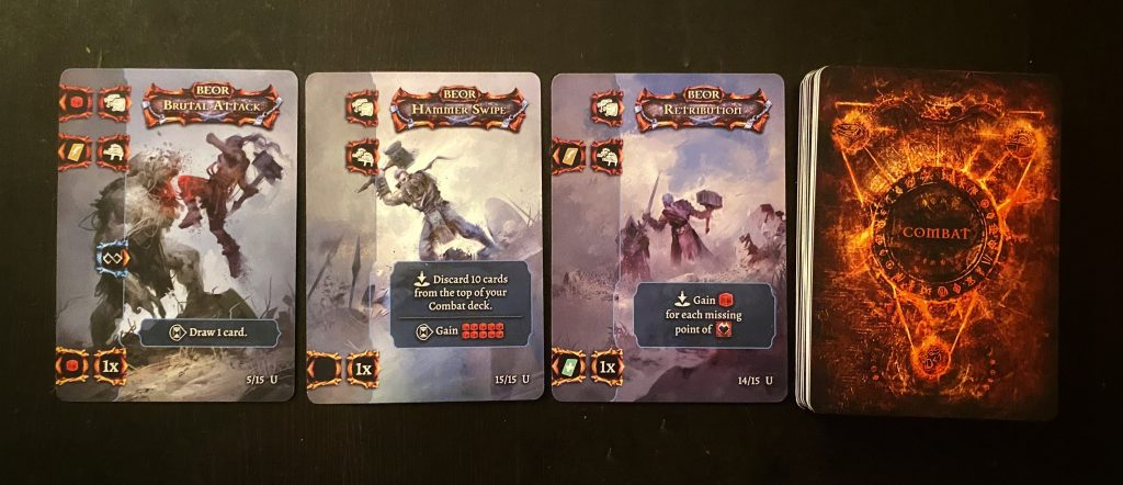 Combat cards from Tainted Grail